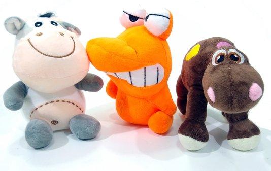 Kit 3 Brinquedos Cães Pelúcia Vaca Dino Rex