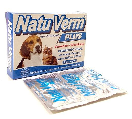 Natu Verm Plus Comprimido Vermífugo Cães Gatos 4 comprimidos