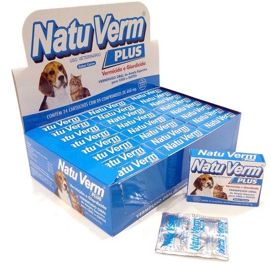 Natu Verm Plus Comprimido Vermífugo Giardia Cães Gatos 96 comprimidos