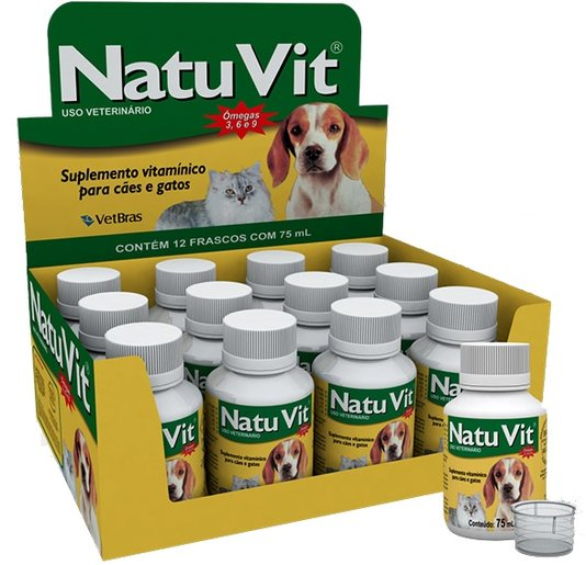 Natu Vit Supl Vitamínico Vitamina A E Cães Gatos 12x75ml
