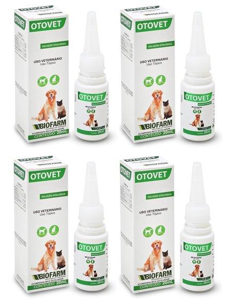 Otovet Solução Otológica Cães Gatos Coelhos 20 ml  (Kit 4 un)