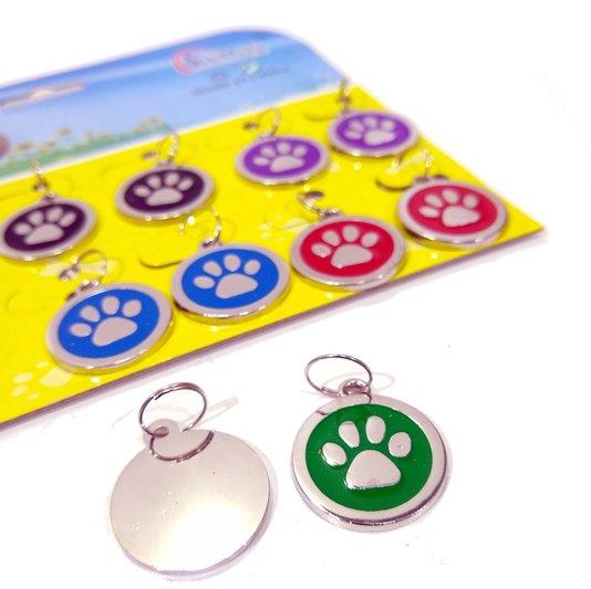 Pingente Placa Identificação Metal Cães e Gatos Cartela 12 un.