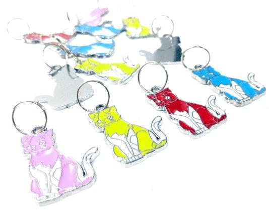 Pingente Placa Identificação Metal Coleira Gatos Cartela 12 un