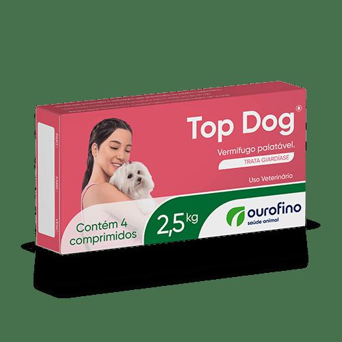 Top Dog 2,5 Kg Vermífugo Palatável Cães Febantel 4 comp