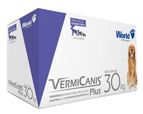 Vermicanis Plus 2,4g Vermífugo Cães 30 kg Display 20 comprimidos