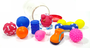 Brinquedo Cães Mordedor Apito Latex Pote Kit 10 brinquedos